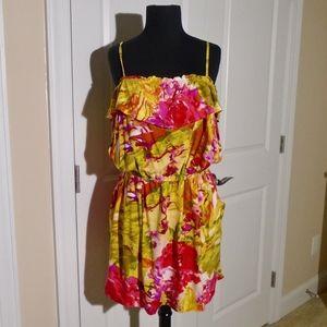 J CREW Printed Floral Ruffle Dress L 10/12